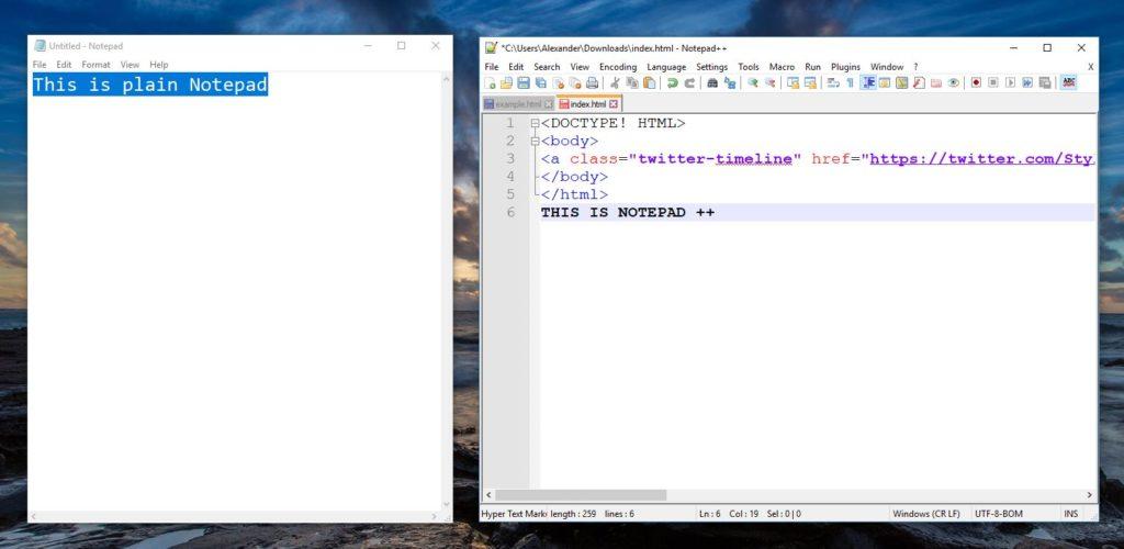 Notepad vs Notepad ++